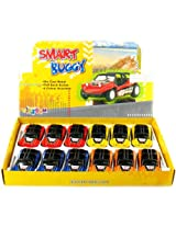 "12 Pcs In Box: 5"" Die Cast Smart Dune Buggy, Pull Back Action (Blue/Orange/Red/Yellow)"