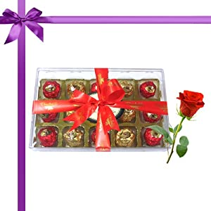 15pc Magical Collection of Truffles with Red Rose - Chocholik Luxury Chocolates