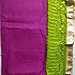 Purple and green Cotton Dress Material