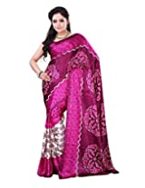 Surat Tex Cream & Pink Crepe Daily Wear sarees for sale with Blouse Piece