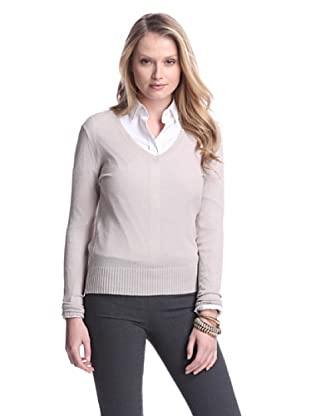 Cashmere Addiction Women's Long Sleeve V-Neck Sweater (Mushroom)