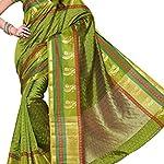 Green Woven Ikkat Art Silk Saree With blouse piece