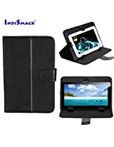 """IndiSmack Black Synthetic Leather Universal Flip Folio Case Cover Cum Stand for 7inch 7"""" Tablets Only"""