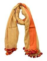 Dushaalaa Women's Scarves (10193.1_Orange , Orange , L x B : 75 Inches X 43 Inches)