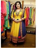 Fabboom Zarine Khan Yellow Designer Anarkali Suit