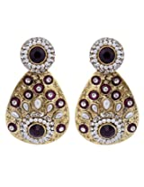 Hyderabadi Abhushan earrings gold with brown color stones