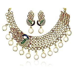 Zaveri Pearls Dancing Peacock Kundan Pearl Drop Necklace Set for Women-ZPFK137