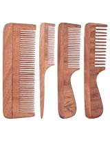 TULIR Neem Wood Comb, Combo of 4 (4 - 7.5 - 9 Inches)