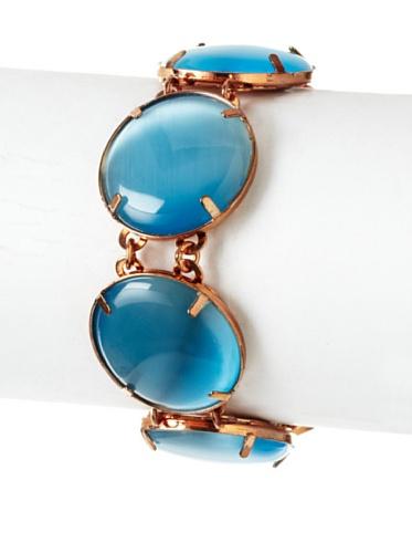 Tuleste Market Circle Bracelet, Rose Gold/Aqua Blue