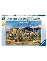 Elephants Jigsaw Puzzle, 500-Piece