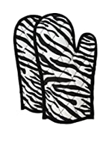 ShalinIndia Cotton Oven Mitts Printed Set of 2 Quilted Cooking Gloves,OG02-2802,Black,8 x12 Inch