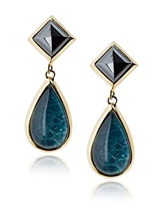 Kara Ross Watersnake Teardrop Clip-On Earrings, Teal