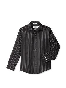Calvin Klein Boy's 8-20 Long Sleeve Multi-Tex Stripe (Black)