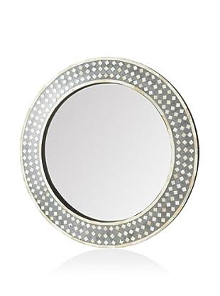 Mili Designs Red Round Bone Inlay Mirror, Natural