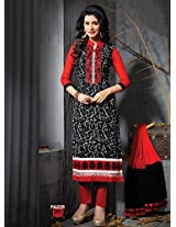 Fabfirki Black and Red Unstitched Cotton Salwar Suit