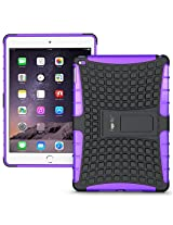 Heartly Flip Kick Stand Spider Hard Dual Rugged Armor Hybrid Bumper Back Case Cover For Apple iPad 6 Air 2 Tablet - Frame Purple