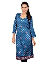 Kala Sanskruti Women's Cotton Silk Peacock Blue Kurti