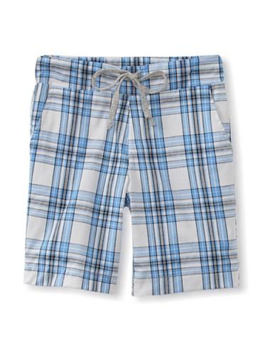 Peas and Queues Boy's Braden Shorts (Blue Plaid)