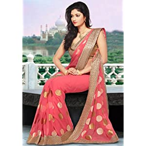 Peach Faux Chiffon Saree with Blouse
