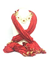 NJS Women's Stole (#JST 12_Red_Free Size)