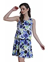 Meiro Women's A-Line Dress (14115_Blue_X-Large)
