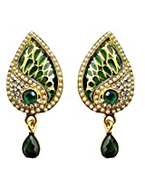 Dhwani Creation Alloy Drop Earrings for Women and Girls (Green)