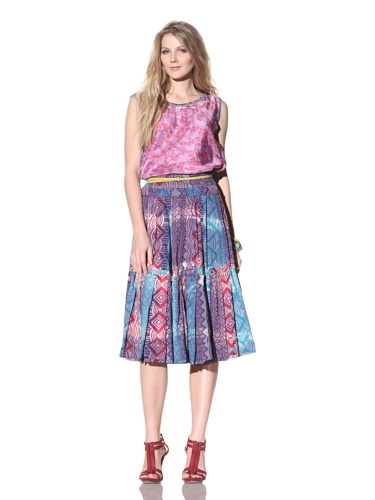 Gregory Parkinson Women's Silk Cotton Voile Skirt (Purple)
