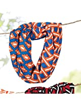 Game Day Mixed Print Infinity Scarf Blue/Orange