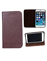 DooDa Genuine Leather Flip Case Cover For Micromax Canvas Doodle A111 (Brown)