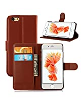 Excelsior Premium Leather Wallet Flip Cover Case For Apple iPhone 6 Plus/ 6s Plus - Brown