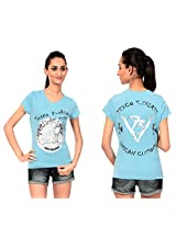 Texco Women's Round Neck T-Shirt (TC0048W-004_Blue_X-Large)