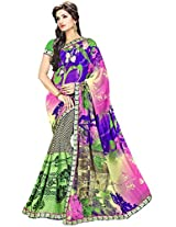 Shree Bahuchar Creation Women's Chiffon Saree(Skb19, Pink and Green)
