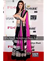 Astha Fashion Velvet & Net Embroidered Lahenga (Black Pink)