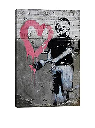 Banksy Boy Painting Pink Heart Giclée On Canvas