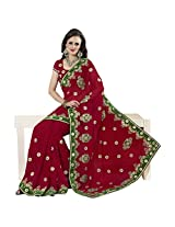 101cart Maroon Color Faux Georgette Embroidered Party Wear Saree