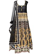 1679 Women's Chanderi silk Anarkali Suit Set (Black, M)
