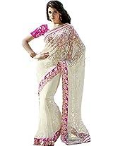 Wedding Wear Off White Saree Embroidery Work Net Sari