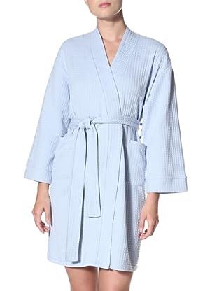 Aegean Apparel Women's Knit Waffle Robe (Light Blue)