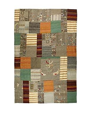 Eden Teppich Kilim Patch Work grau/mehrfarbig 204 x 306 cm