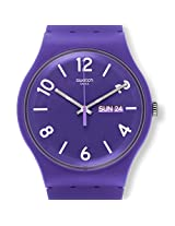 Swatch Backup Purple SUOV703 Purple Round Dial Analogue Watch - For Women