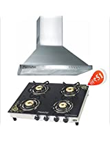 SignoraCare 1000m3/hour suction Electric Chimney Classic (BAFFLE FILTER) (+ Glass Top 4 Burner of worth Rs 7090/- @ Rs.51)