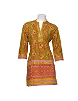 Rajasthan Emporium and Handicrafts Women Cotton Yellow Kurti