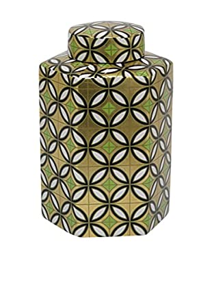 Three Hands Medium Ceramic Jar, Gold Geometric