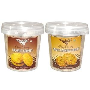 Coconut & Ginger Cashew Cookies - Chocholik Cookies - 2 Combo Pack