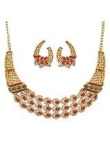 Touchstone Antique Gold Plated Ravising Necklace Set PWNSL382-01AREG