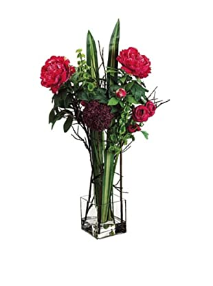 Allium and Peony In Glass Vase