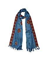 Banna Soft Tussar Stole Dupatta In Blue With Kalamkari Patch Work - Multi Coloured