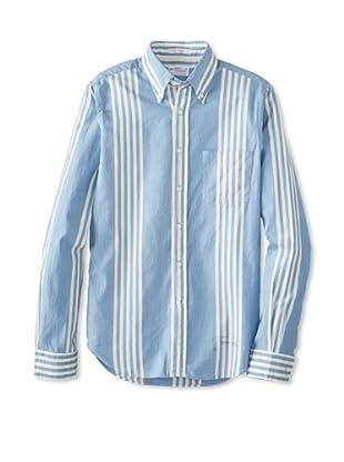GANT Rugger Men's Dreamy Oxford Stripe Button Down Shirt (Capri Blue)
