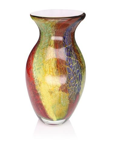 Badash Art Glass Firestorm Mouth-Blown Vase, Red Multi, 10