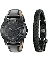 Fossil End-of-season Daily Analog Black Dial Men's Watch and Wristband Combo - FS5147SET